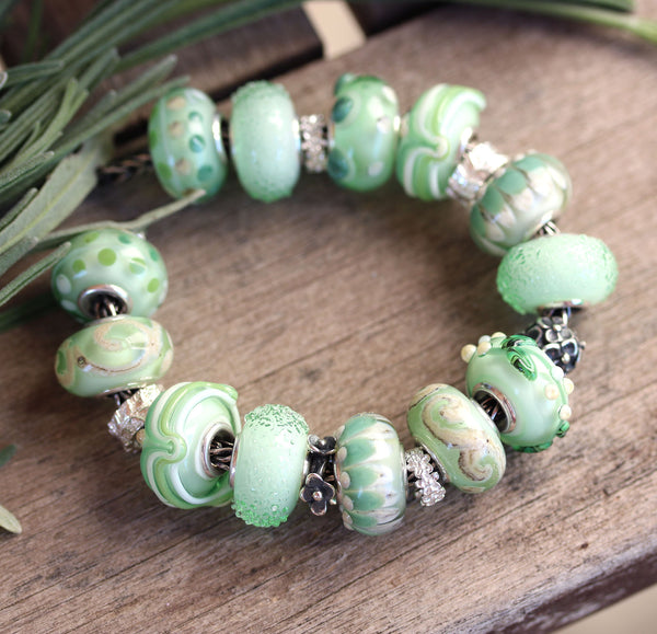 Green Murano glass European bracelet beads handmade lampwork large hole charms for pandora troll