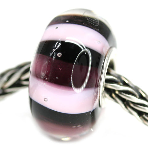 Purple stripes European bracelet charm handmade Murano glass bead