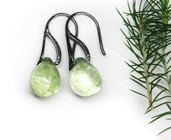Antique green drop glass earrings