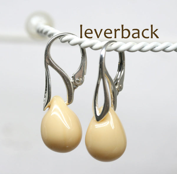 Opaque creamy beige drop glass earrings