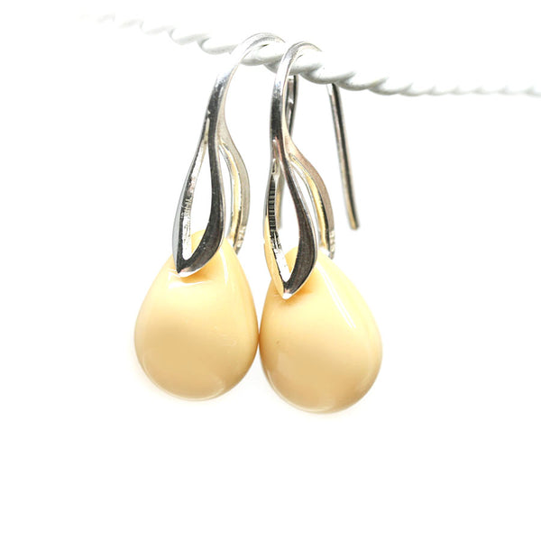 Creamy beige drop glass pendant on sterling silver chain