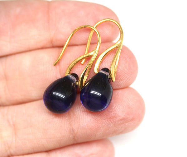 Blue purple drop glass earrings