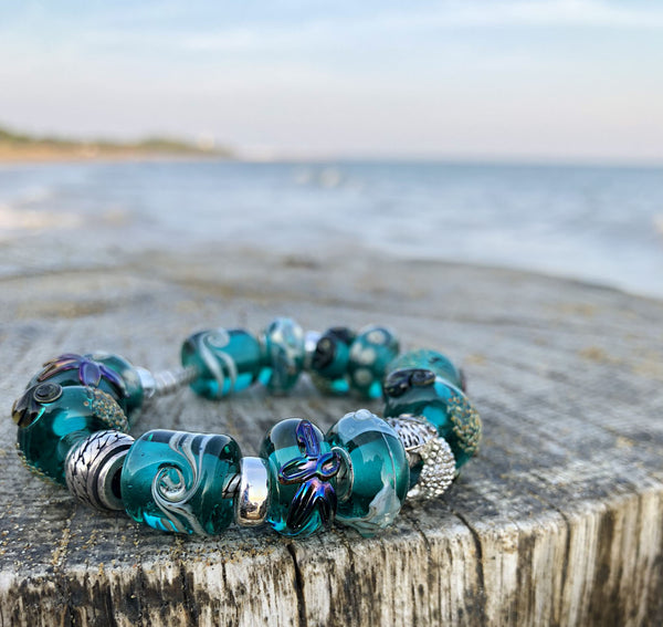 Teal green European style bead with starfish