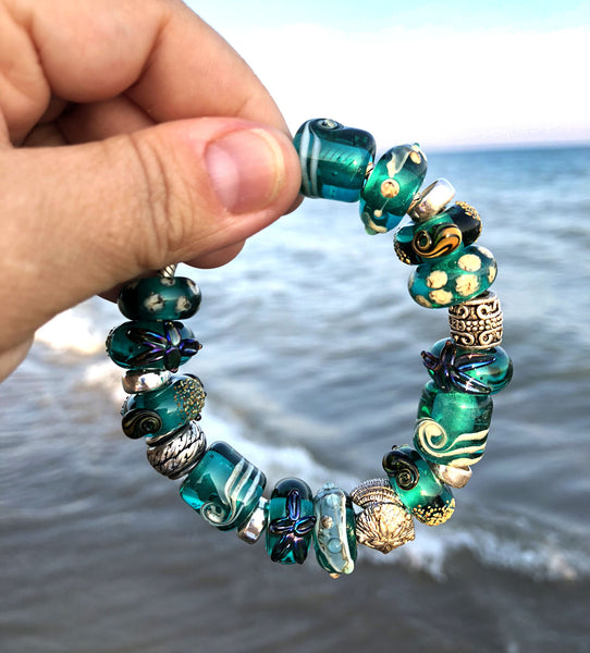 Teal green tube European bracelet bead Ocean inspired jewelry by INVSea