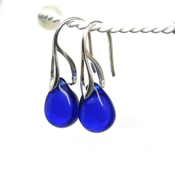 Cobalt blue drop glass earrings golden coated ear wires