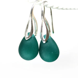 Frosted dark teal drop glass earrings ocean inspired jewelry