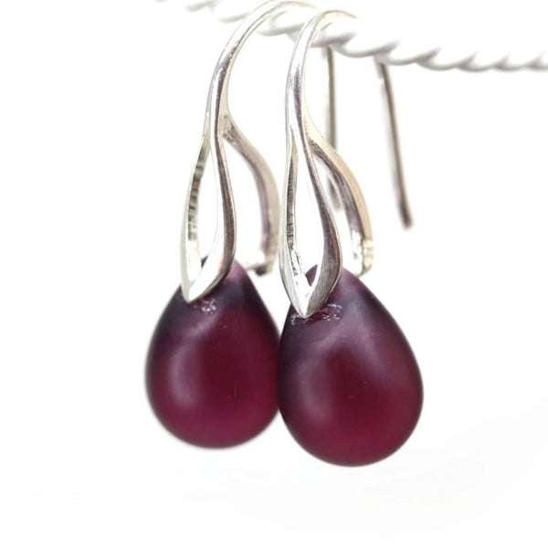 Frosted dark purple drop glass earrings for women