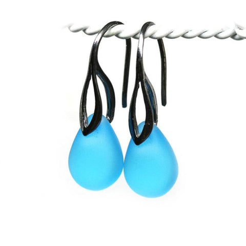 Frosted blue drop glass earrings black rhodium ear wires