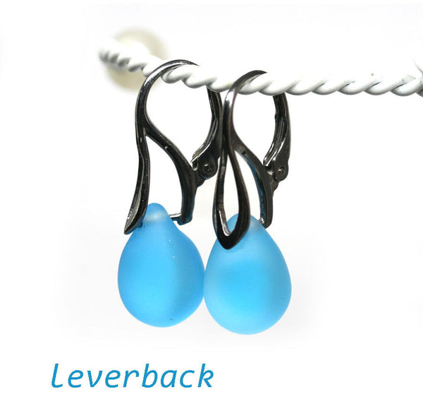Frosted blue drop glass earrings sterling silver ear wires
