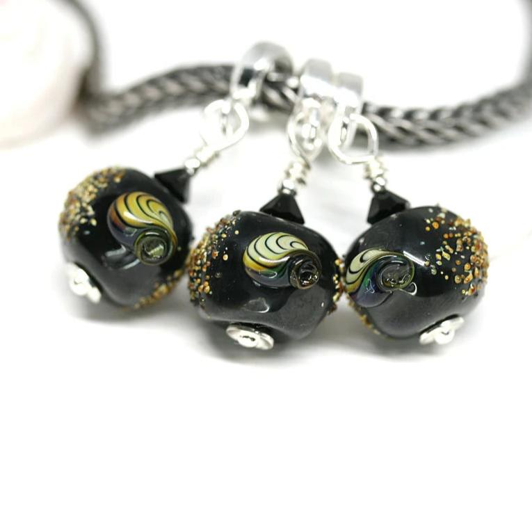 Black European bracelet dangle charm bead