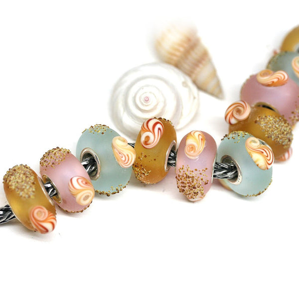 Frosted green European bracelet bead with seashells