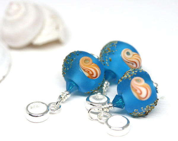 Frosted blue European style dangle charm bead