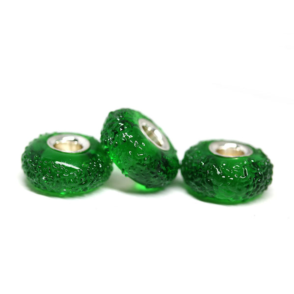 Emerald green silver lined European style bracelet bead for pandora troll