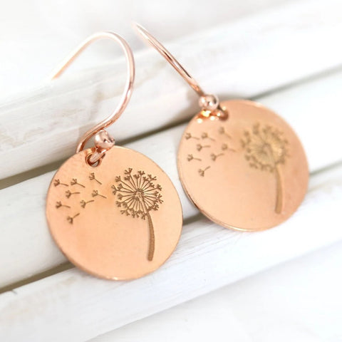 Rose gold dandelion flower earrings goft for wife mother girlfriend