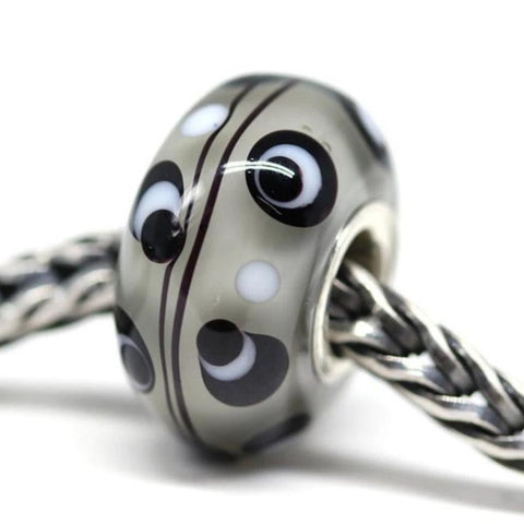 Gray with black dots European style charm bead handmade lampwork
