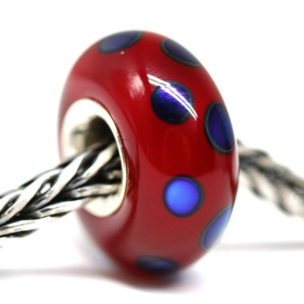 Silver lined red with dark blue dots European style charm handmade lampwork glass