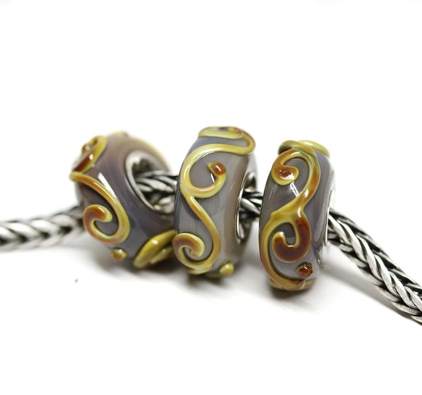 Silver lined earthy colored European style bracelet bead for pandora troll