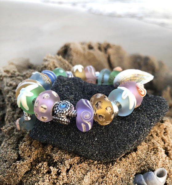 Beach Handmade lampwork glass European bracelet beads INVSea