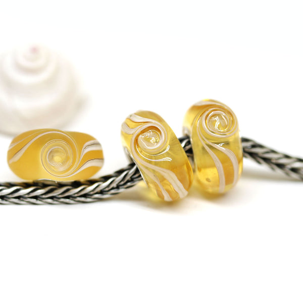 Amber yellow wave European bracelet bead