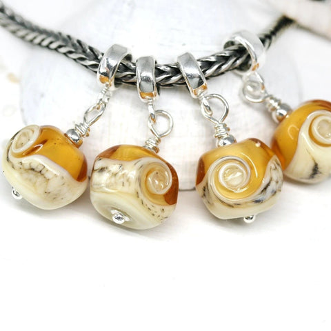 Amber yellow European bracelet dangle charm bead