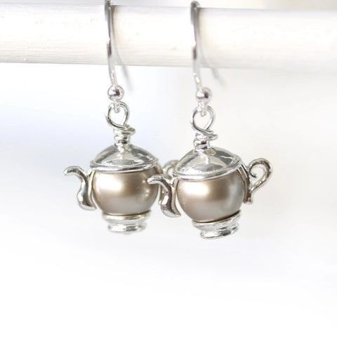 Sterling silver tearpot earrings swarovski pearl jewelry tea party