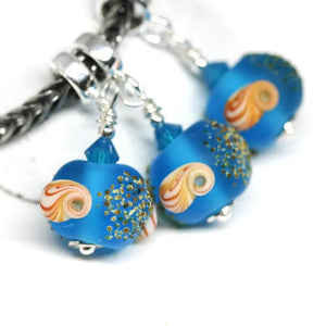 Frosted blue European dangle charm bead