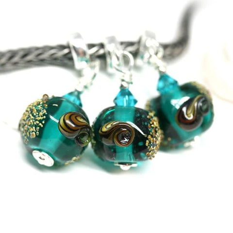 Teal green European pandora style dangle charm bead Sea inspired jewelry