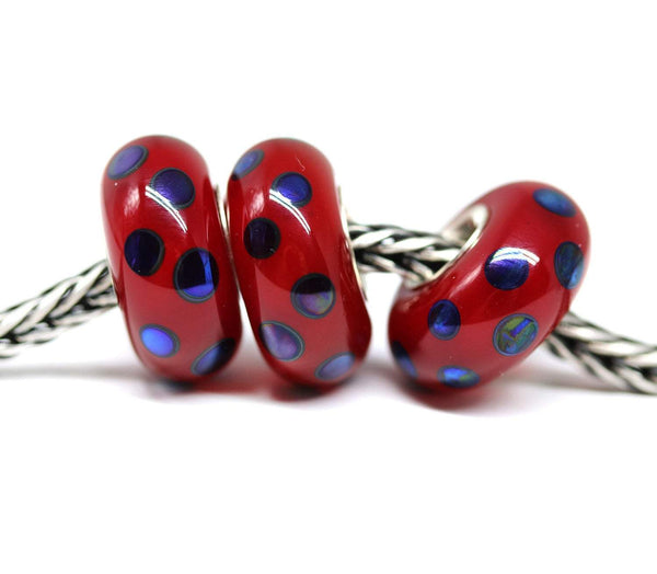 Opal red with blue dots European style charm handmade lampwork glass