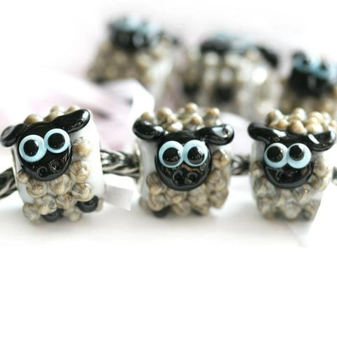 Kawaii gray sheep European style bracelet charm bead Cute animal jewelry