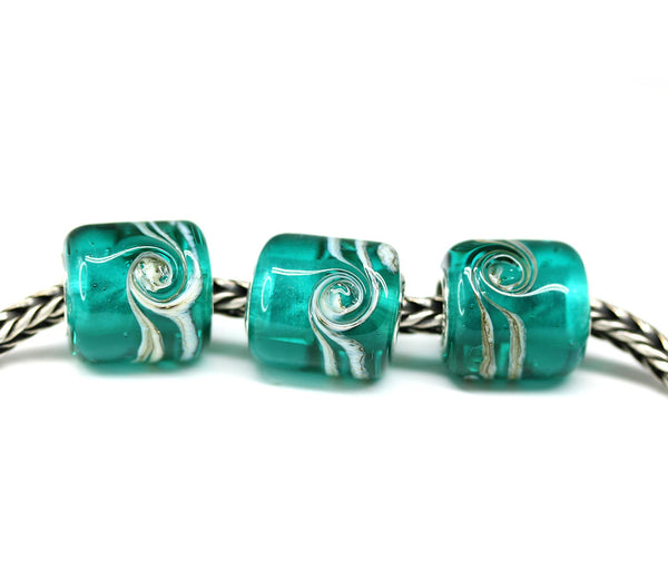 Teal green tube European bracelet bead Ocean inspired jewelry