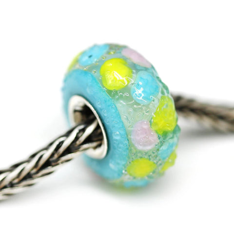 Silver lined sugar dots Artisan lampwork glass European style charm