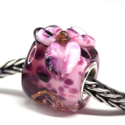 Pink flower purple European bracelet bead Handmade lampwork glass
