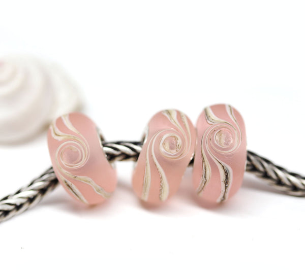 Seaglass pink wave European bracelet bead
