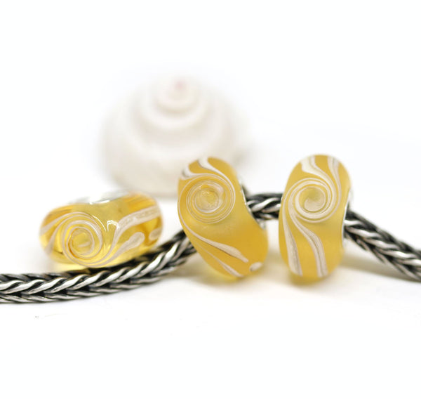 Frosted amber yellow European bracelet bead surf wave jewelry