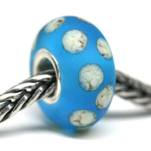 Seaglass blue European bracelet pandora style bead with dots by INVSea