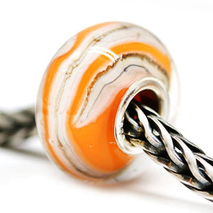 Orange striped European style bracelet bead by INVSea artisan lampwork