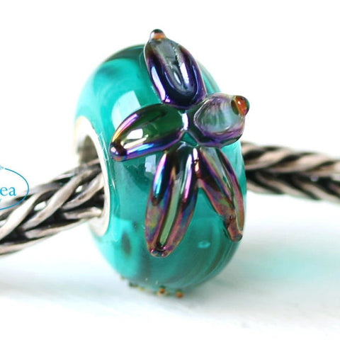 Teal green ocean inspired European style bead with starfish