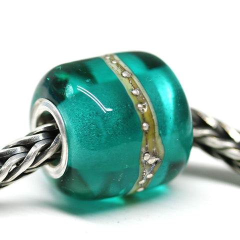 Handmade lampwork glass teal tube European bracelet bead