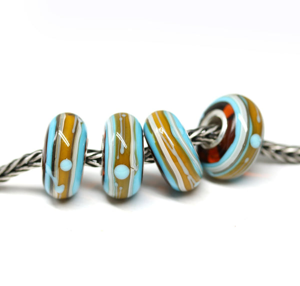 Tribal jewelry blue yellow European bracelet bead Handmade lampwork INVSea