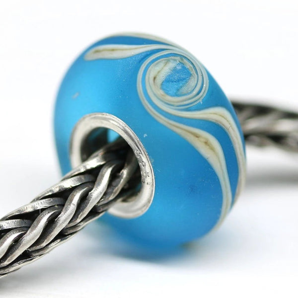 Frosted aqua blue sea inspired jewelry European bracelet bead for Troll