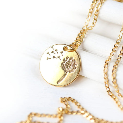 Golden dandelion flower necklace dainty everyday floral jewelry make a wish