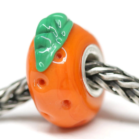 Orange fruit European bracelet bead Vegan jewelry by INVSea
