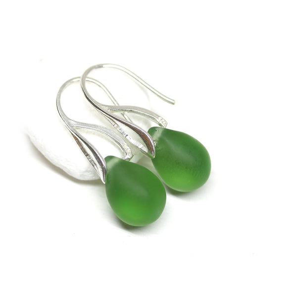 Frosted olive green drop glass earrings
