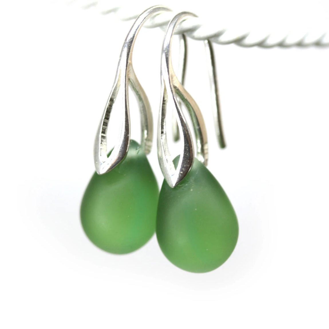 Frosted olive green drop glass earrings Seaglass jewelry