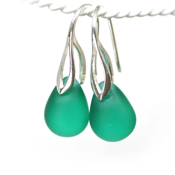Frosted light teal drop glass earrings for women