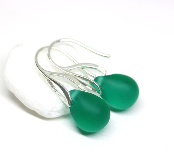 Frosted light teal drop glass earrings