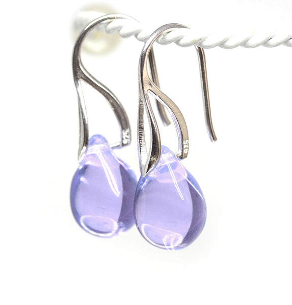 Lilac lavender drop glass earrings sterling silver ear wires