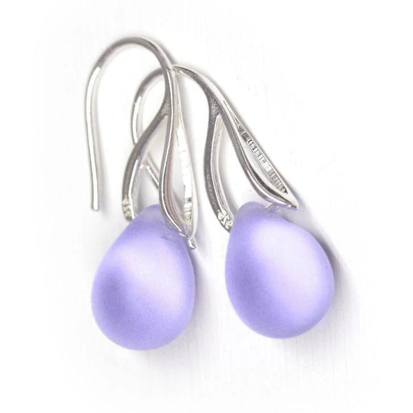 Frosted lilac drop glass earrings sterling silver ear wires