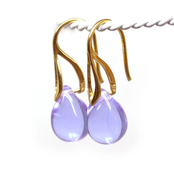 Lilac lavender drop glass earrings golden ear wires