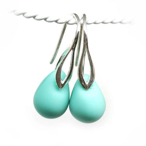 Frosted turquoise green drop glass sterling silver earrings